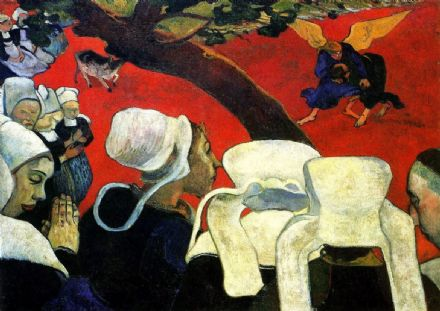 Gauguin, Paul: The Vision after the Sermon (Jacob wrestling with the Angel). Fine Art Print.(001533)